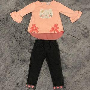 Little Lass Kitten Shirt/Pants Set